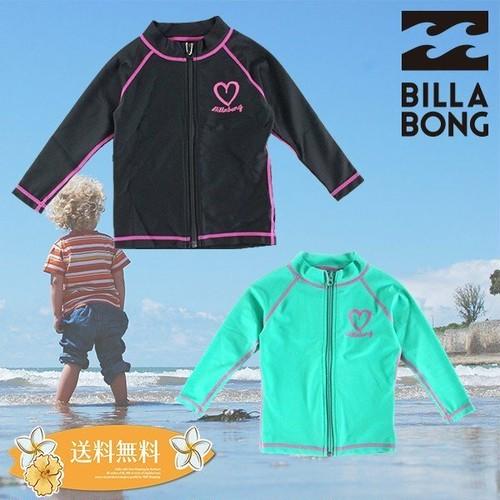 ビラボン ラッシュガード 子供 長袖 キッズ ジップアップ UV 水着 プリント ロゴ 選べる 2カラー ピンク アクア 海 90 110 130 BILLABONG AE015-802