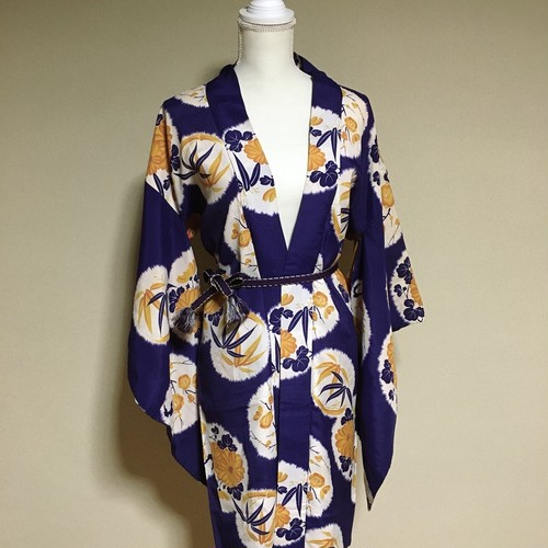 Vintage Long HAORI Silk Blue ×bamboo chrysanthemum【HA05】