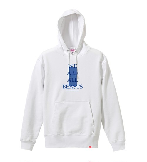 "【with Lyric】""We Are All Beasts"" Hoodie : White"