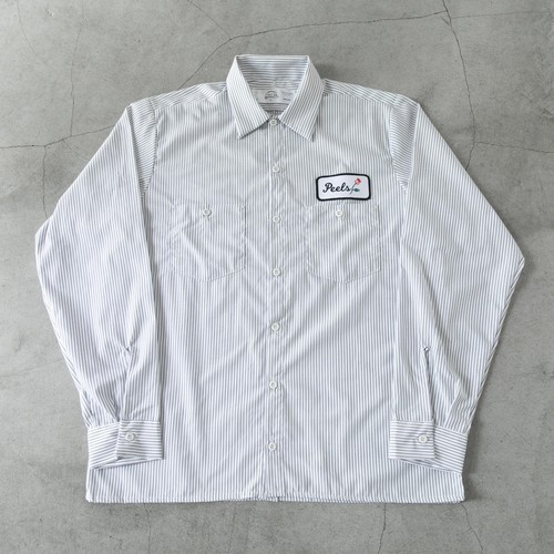 Peels Rose Patch Long Sleeve Work Shirt Striped