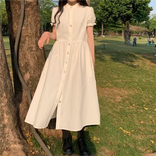 シャツワンピース ロング丈 半袖 韓国 ファッション レディース オルチャン 春 夏 シンプル Aライン