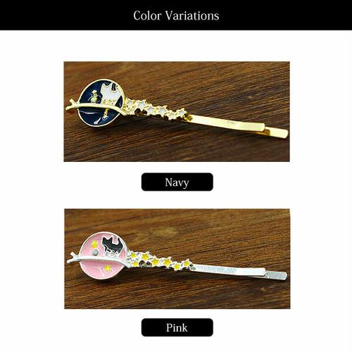 【ヘア】全2色!!ネコスターラインストーンデザインヘアピンヘアアクセサリー髪留め Pink