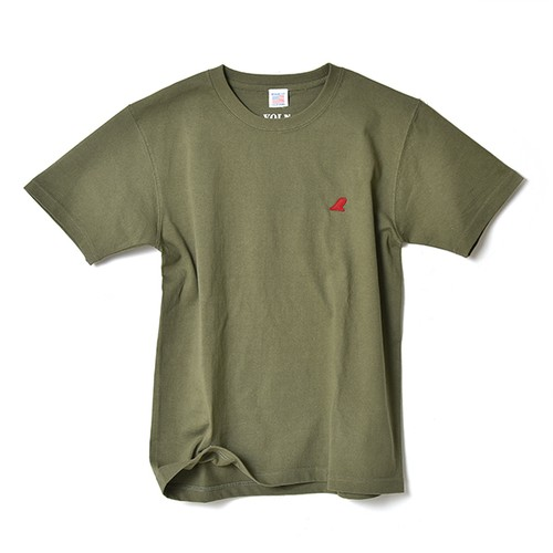 CREW NECK T-SHIRT / RED FIN / LIGHT OLIVE