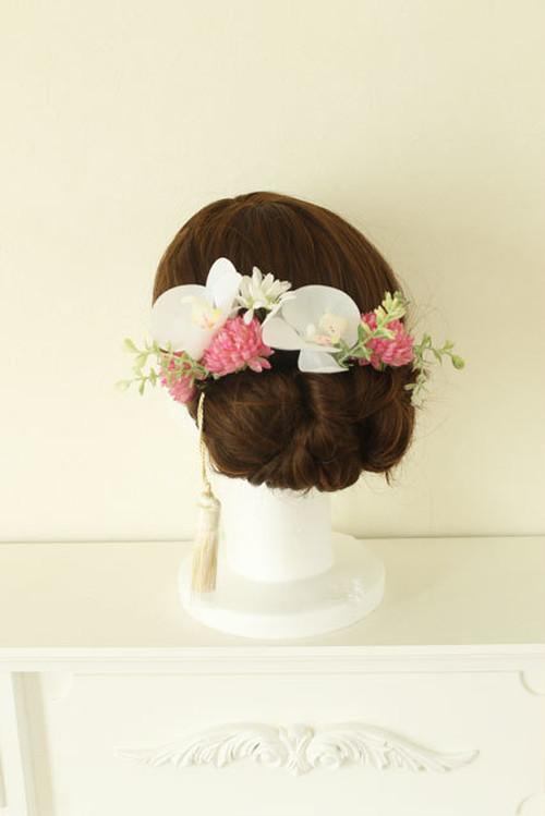 胡蝶蘭とマム(ピンク)の髪飾り