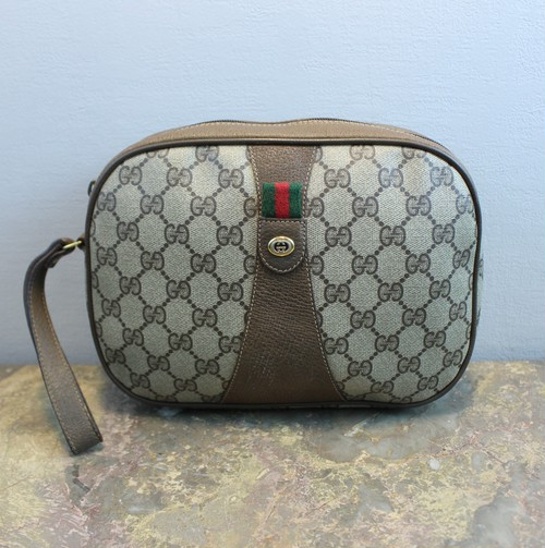 .OLD GUCCI SHERRY LINE GG PATTERNED CLUTCH BAG MADE IN ITALY/オールドグッチシェリーラインGG柄クラッチバッグ 2000000036304