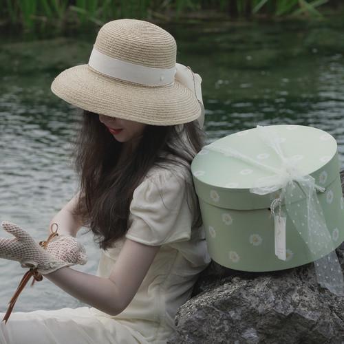 Le Petit Loriot 2020ss Raffia Hat with cream ribbon