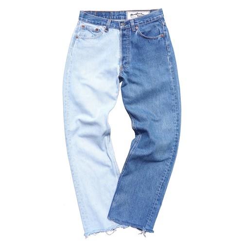 """[Magfacture] """"BI-COLOR JEANS"""" 90's Levi's 501 BLUE×ICE BLUE size:W28"""