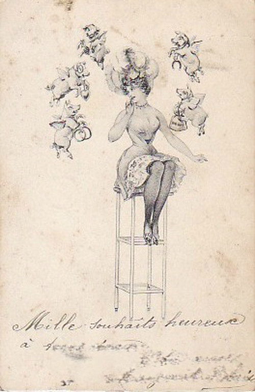 古絵葉書エンタイア「ブタ天使」(1900年代初頭)