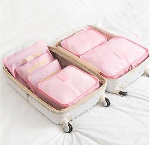 5000旅行 ポーチ アレンジケース  メッシュポーチ+ランドリーポーチ 旅行 グッズ トラベル用品 6種ポーチセット 薄いピンク
