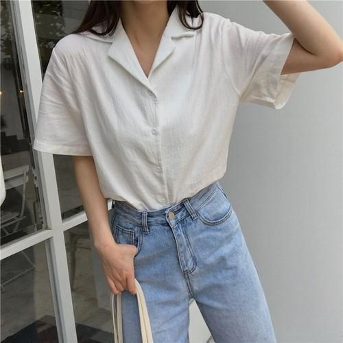 【トップス】韓国版無地レトロ ゆるく合わせやすいシャツファッション