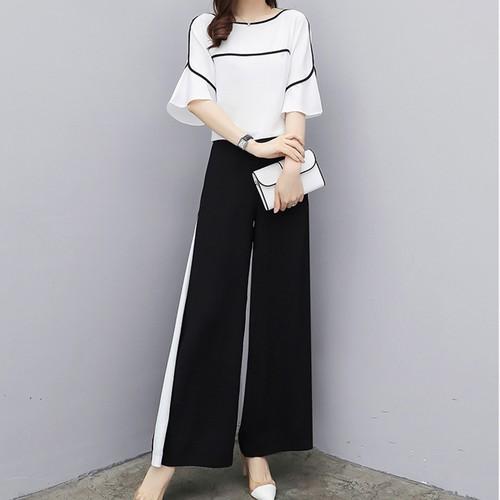 【セット】ファッション着痩せシフォンシャツ+ガウチョパンツ2点セット19581027
