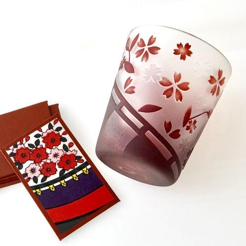 桜に幕〜花札のガラスおちょこ