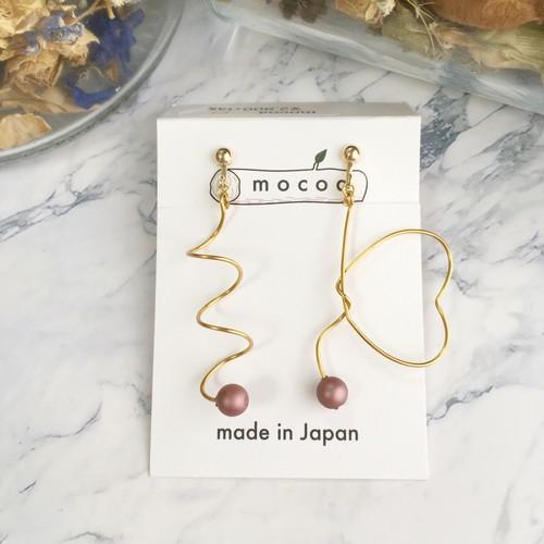 【mocoa】乙女ハートspiralイヤリング(ゴールド)/パーツ交換可能
