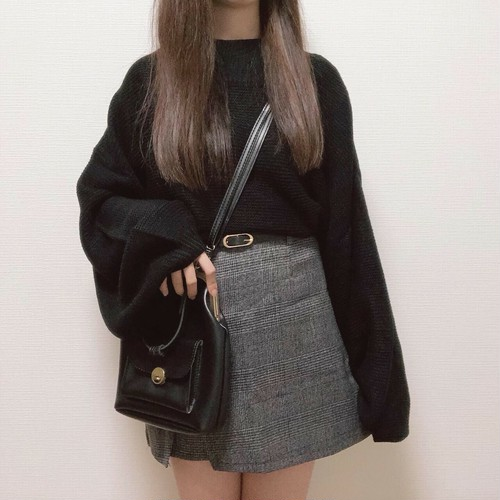 check lap mini skirt