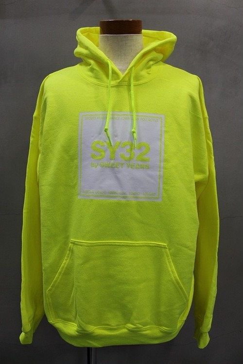 SY-32 by SWEETYEARS SQUARE LOGO PULLOVER HOODIE イエロー×ホワイト