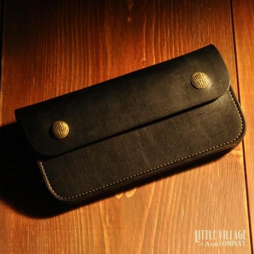 """Original Truckers' Wallet """"Long"""" w/ Brass Buttons : Black"""