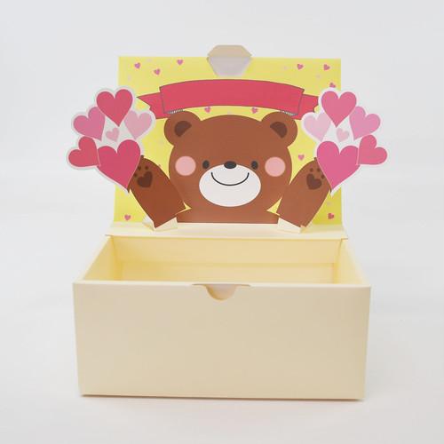 【L】お祝いくま  ポップアップボックス(文字無し)