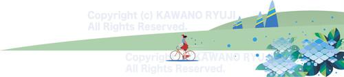 紫陽花の咲く丘_ai(ベクターデータ)