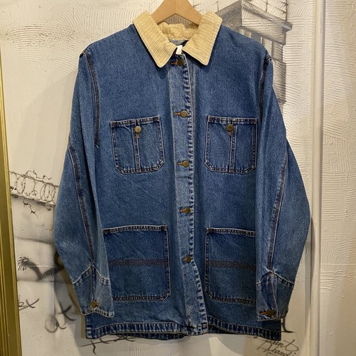 corduroy collar denim coverall jacket