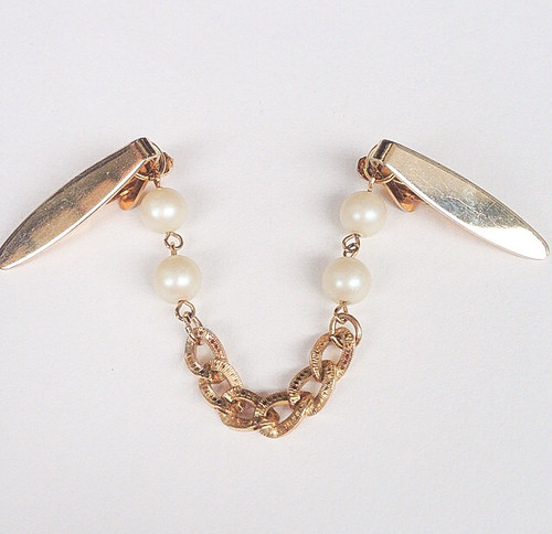 gold & pearl sweater clip[s-140]