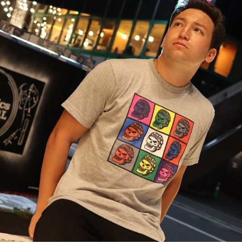 【YBC】RUGBY SKULL COLORFUL T-shirts Gray