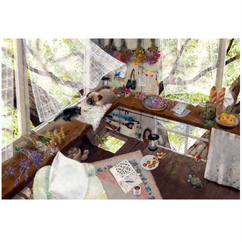 『今日はこんな感じ』 爽やかなひと時まったり子猫も子犬も昼寝 リラックスした時間と空気を感じるイラスト A4サイズ プリント