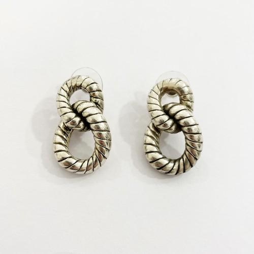 Vintage 925 Silver Rope Twist Knot Pirced Earrings