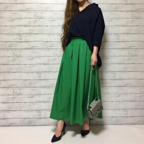タフタ ロングフレアスカート(green)