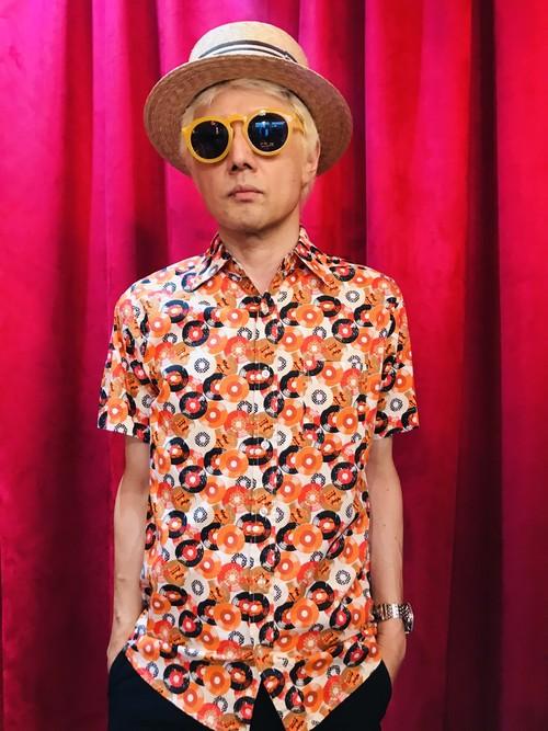 RUN&FLY レコード柄 メンズシャツ オレンジ