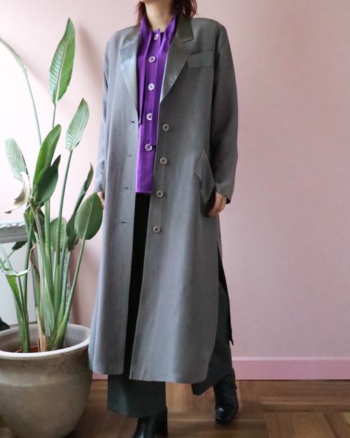 gray long slit light gown