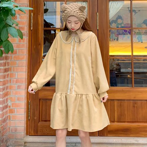 【ワンピース】秋冬ファッションスウィート清新切り替えラウンドカラーAラインワンピース