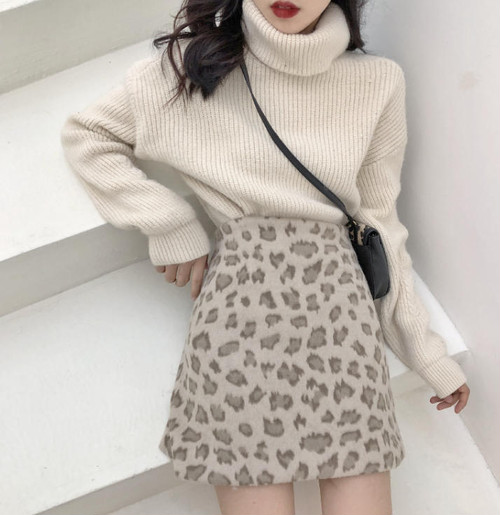 2色 冬 新作 トレンド レオパード ひざ上 ミニ 台形 スカート