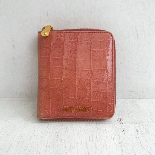 miu miu round zip leather wallet