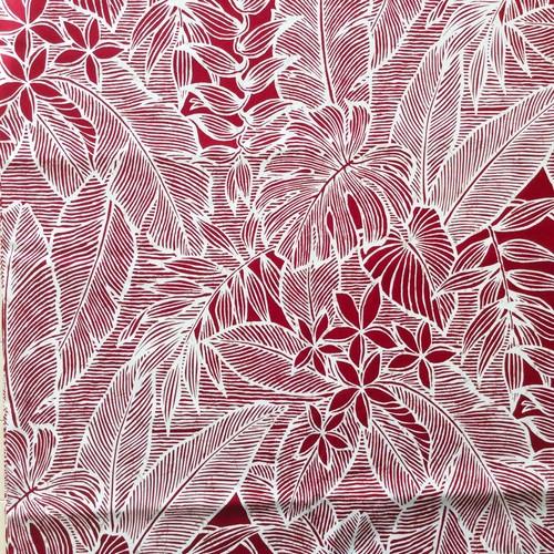 USA Cotton Hawaiian Fabric     バーガンディ