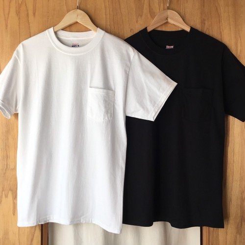 US企画★Hanes Beefy Pocket T-shirt White, Black