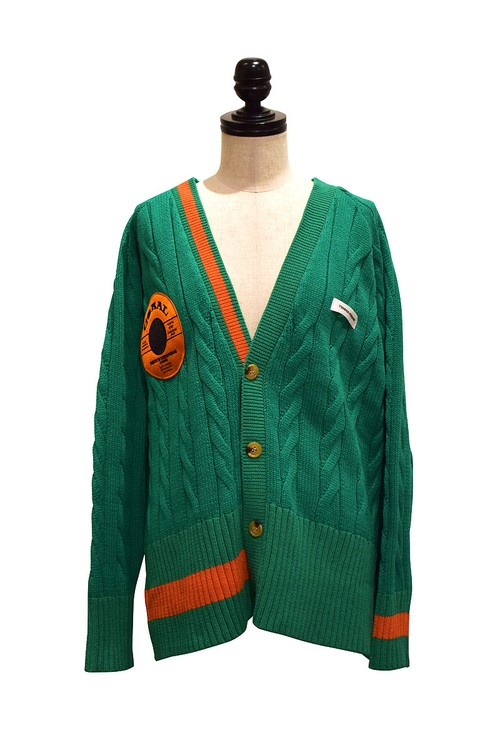 TENDER PERSON / CROSS KNIT CARDIGAN / GREEN