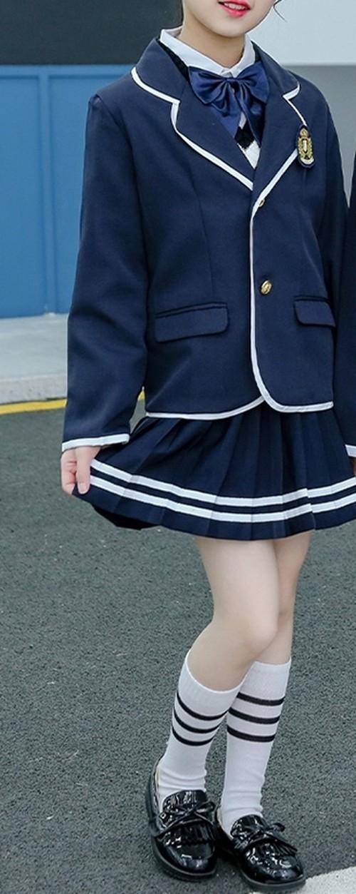 ◆ ライン使いがおしゃれな 制服風 スーツ セット ジャケット シャツ プリーツスカート ベスト リボン 4点セット ミニスカート 卒業式 入学式 ちょっとしたおめかしに 女の子 小学生 春 ネイビー ホワイト