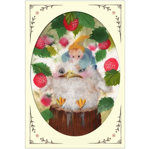 『幼なじみ』 仲良しの二人は幼なじみ ほのぼのした雰囲気にイチゴもかわいいイラスト ポストカード
