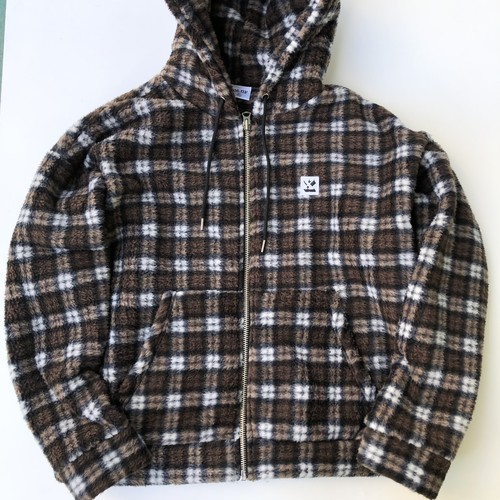 Fleece boa hoodie jacket BROWN CHECK