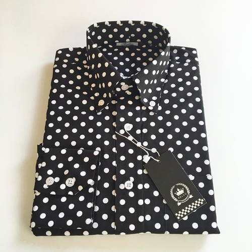 Relco London | Polka Dot Button Down Shirt - Black