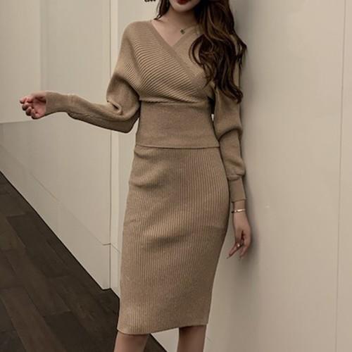 【セットアップ】レディースファッションVネックニットセーター+スカート気質アップ二点セット25346217