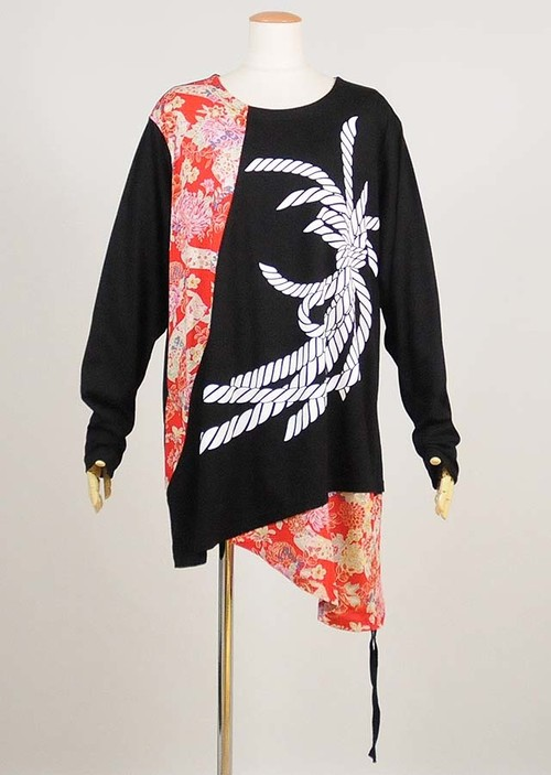 gouk侍 祝い結びプリント入り和柄切り替えビッグTシャツ GGD26-T828 BK-RD/MM