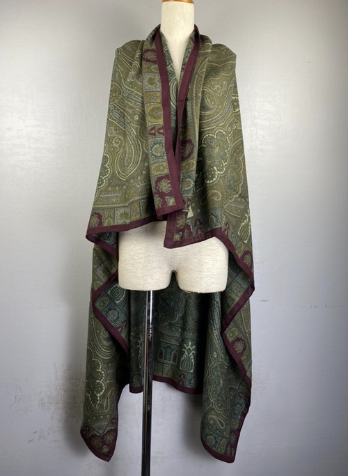 .ETRO WOOL SILK PAISLEY PATTERNED LARGE SIZE SHAWL MADE IN ITALY/エトロウールシルクペイズリー柄大判ショール(ストール) 2000000043654