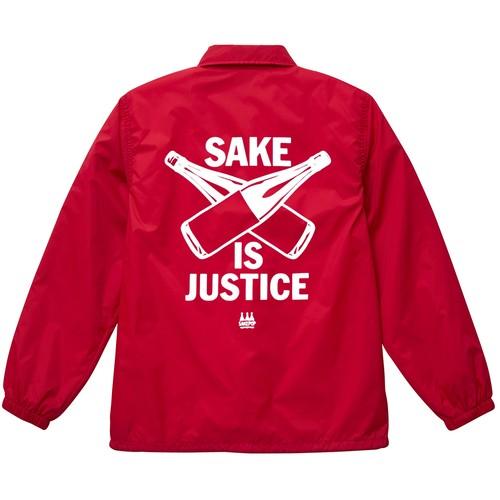 【受注生産】【12/26予約締切1月中旬発送】ナイロンコーチジャケット / レッド SAKE IS JUSTICE