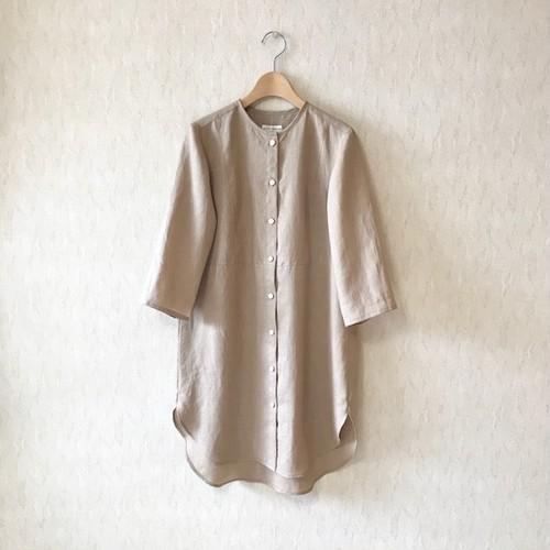 ヨーク切替ロングシャツ/リネンローン/スモーキーベージュ