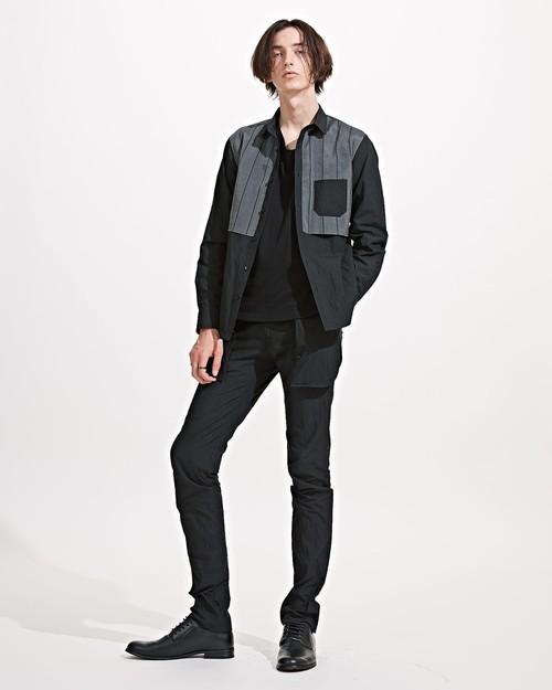 【KINO MEN'S】ストライプきりかえシャツ 818SSMB-01