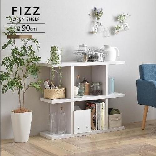 Fizz(フィズ)シェルフ(ロータイプ90cm幅)ホワイト/ナチュラル/ブラウン