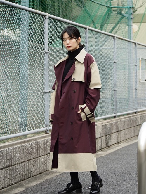 disemBySiiK BICOLOR-TRENCH COAT red