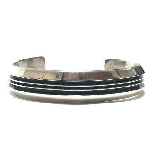 Navajo Vintage Sterling Silver Three Line Bangle by Tom Hawk