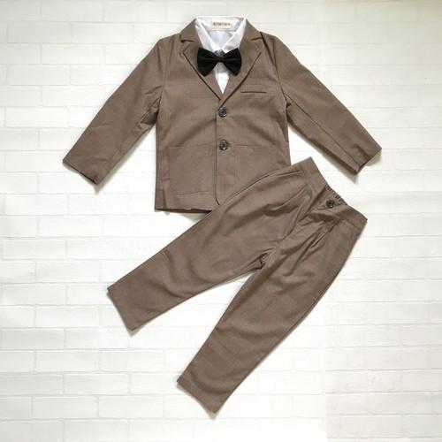 【送料無料】ブラウンチェック柄スーツ 4点セット【199】